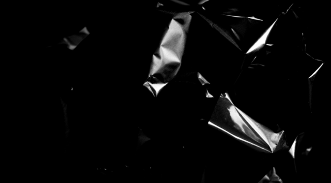 A collection of abstract patterns in black and white. A study with aluminum foil