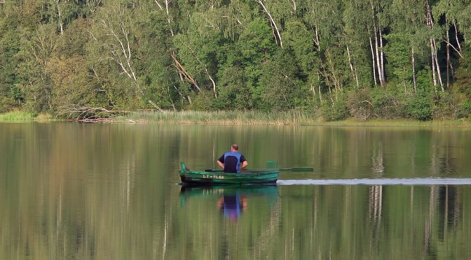 A man rows a boat with its paddles in the middle of a lake. Free HD video footage