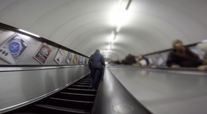 Escalator of the London underground (tube transport). Free GoPro HD video footage