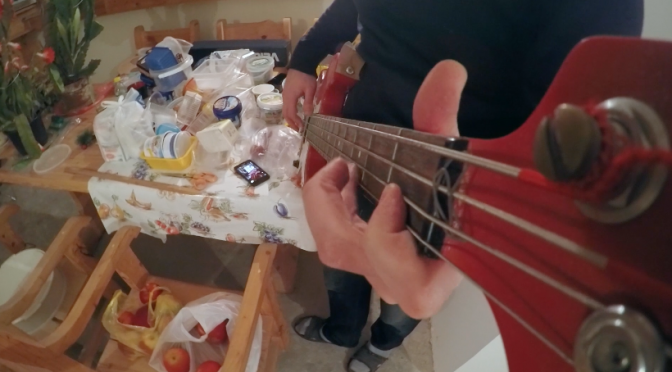 Punk rock underground studio: GoPro fixed on the neck of bass guitar. Free HD video footage