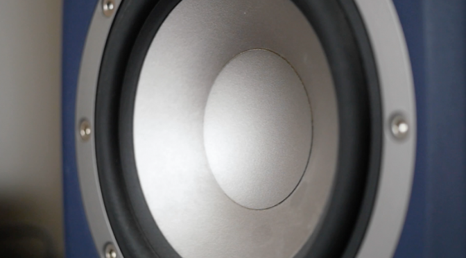 Closeup at loudspeaker, moving sub-woofer in slow motion. Free HD video footage