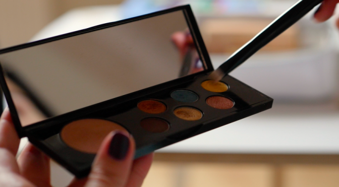 Eyeshadow palette and brush. Free HD video footage