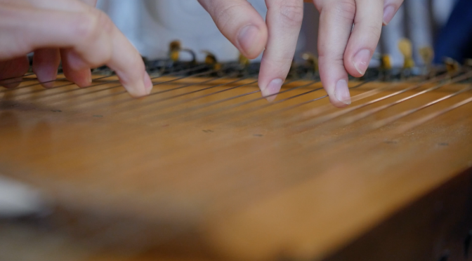 Playing the ethnic zither instrument. Free HD video footage